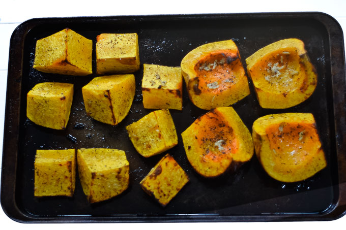 roasted butternut squash on tray