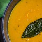 thai butternut squash soup in bowl