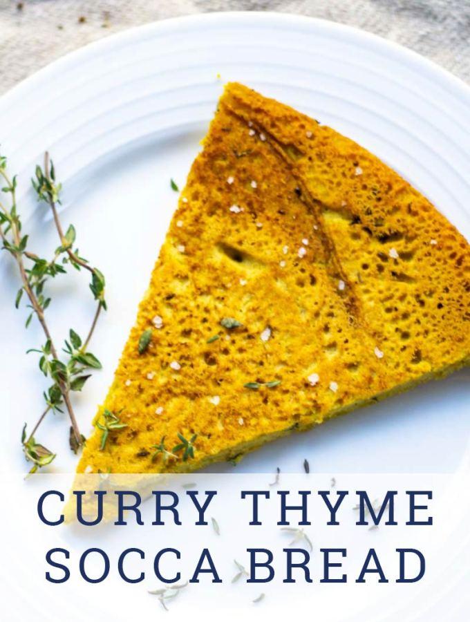 Curry thyme gluten free socca bread