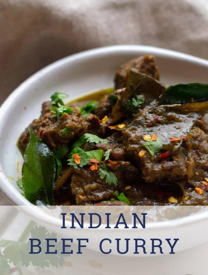 Indian beef curry in off-white bowl