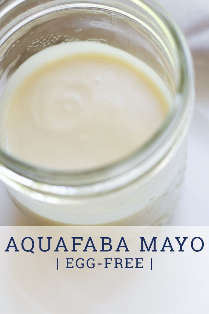 aquafaba mayo in glass jar