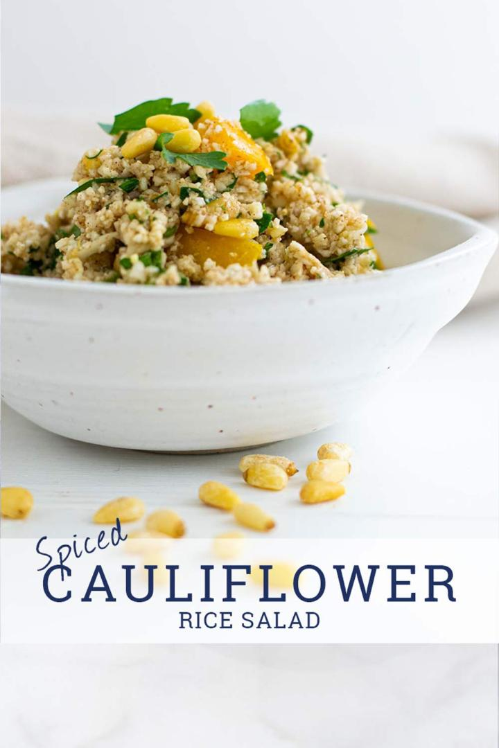 Cauliflower salad in white bowl