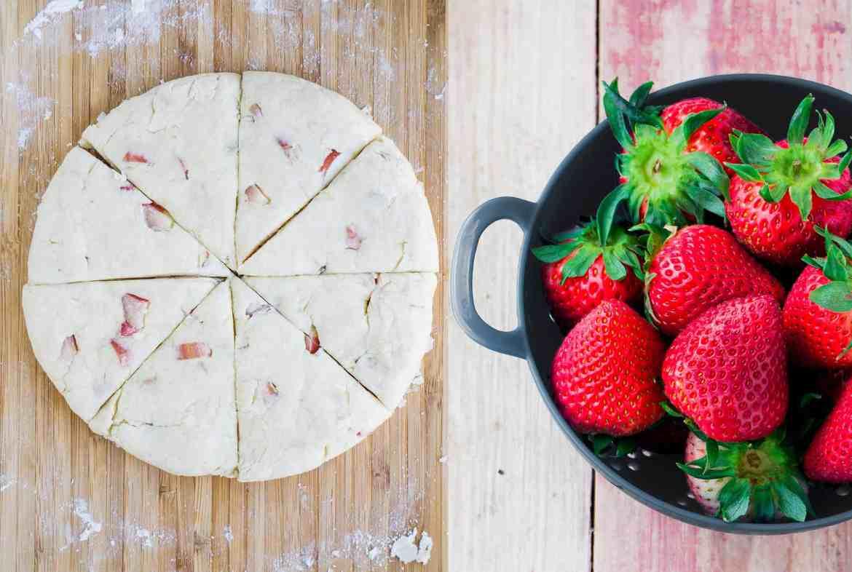 Coconut Rhubarb Scones with a Strawberry Glaze