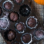 1-bowl Pumpkin Chocolate Chip Muffins by @eatlovenamaste that are rich, moist, and decadent! The perfect chocolatey treat for breakfast or dessert!