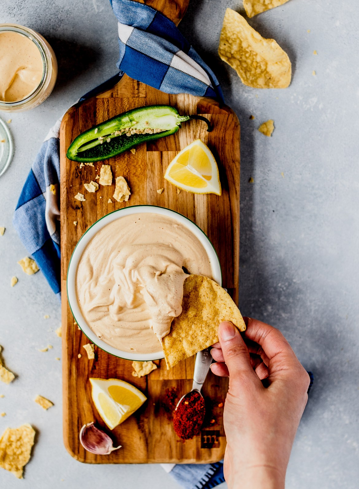 Harissa Cashew Sauce served with chips