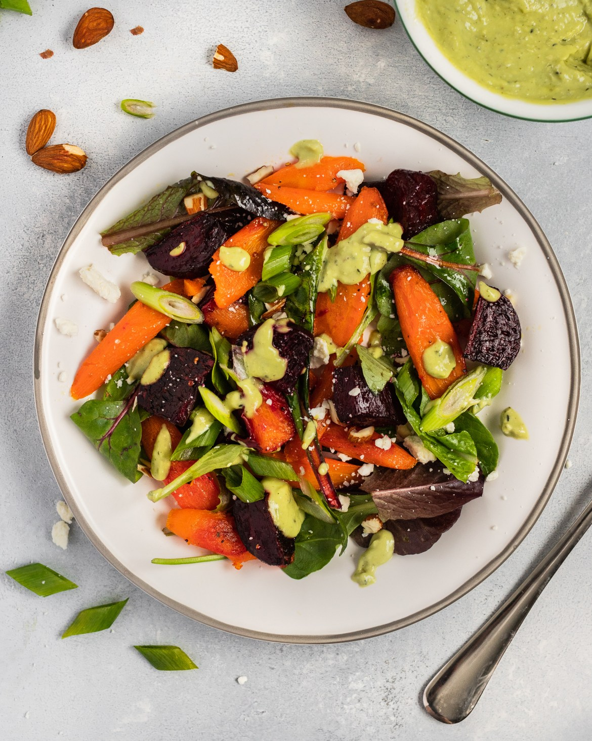 Healthy Winter Salad with Avocado Dressing and Almonds