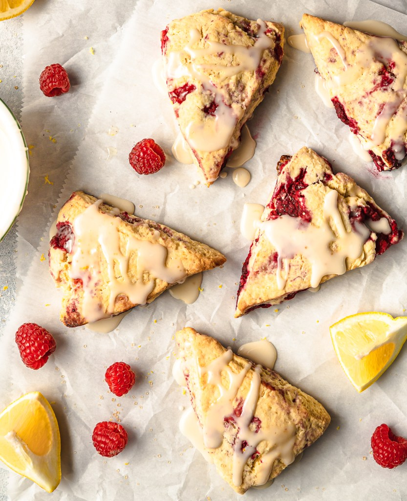 East and Delicious Lemon Raspberry Scones