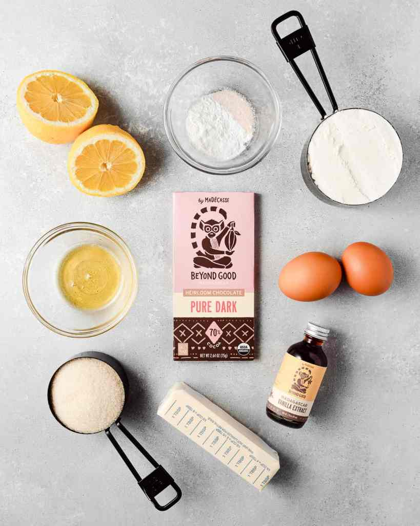 ingredients to make madeleines