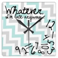 whatever i'm late anyways chevron wall clocks