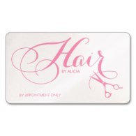 hair stylist business cards pink and pearl elegant