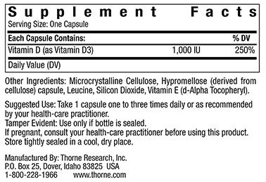 Supplement Facts of Bottle of Thorne D-1,000