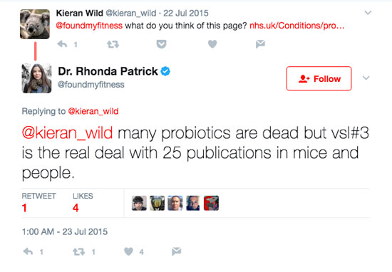 Tweet between Kieran Wild and Dr. Rhonda Patrick about VSL #3.