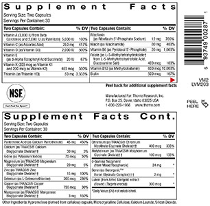 Image of supplement facts from bottle of Thorne vitamins.