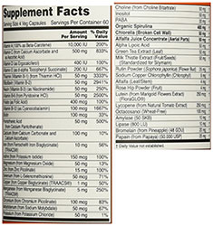 Image of supplement facts of Now Foods multivitamin.