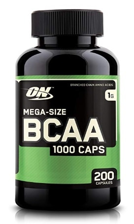 A photo of a BCAA supplement bottle.