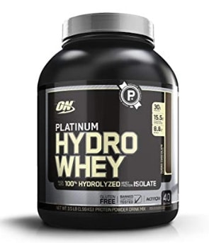A photo of an Optimum Nutrition Hydrowhey jug.