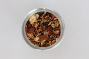 Image from Above of Jar of Oats and Nuts