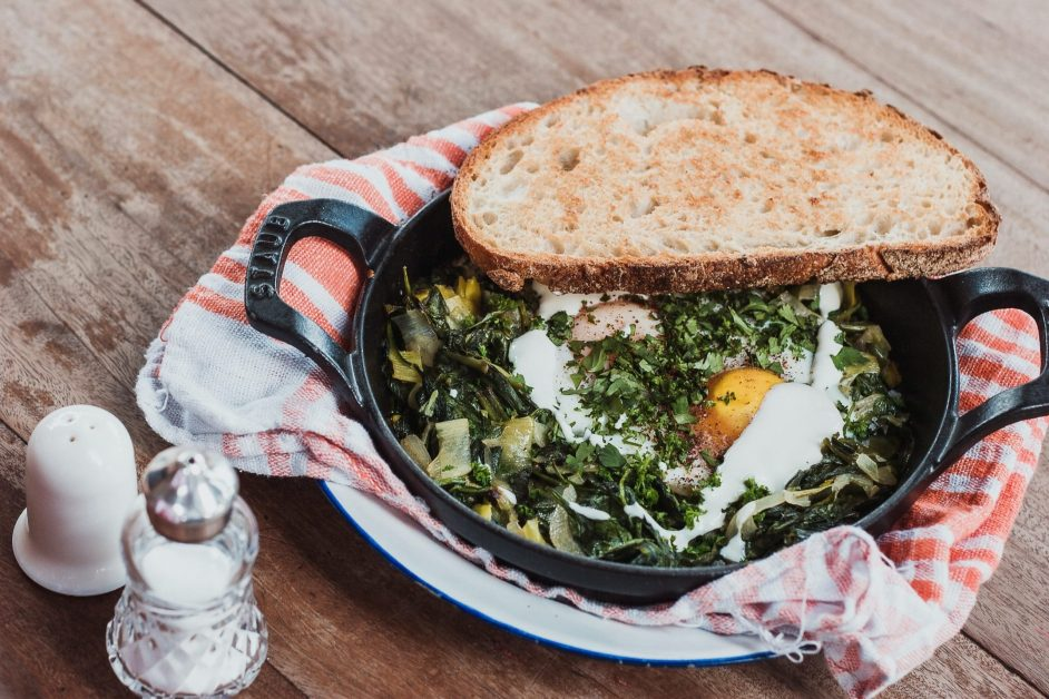Skillet with Eggs and Spinach Bake