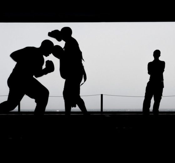 Boxers Punching in Silhouette Image