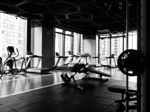 Black and White Picture of Empty Gym