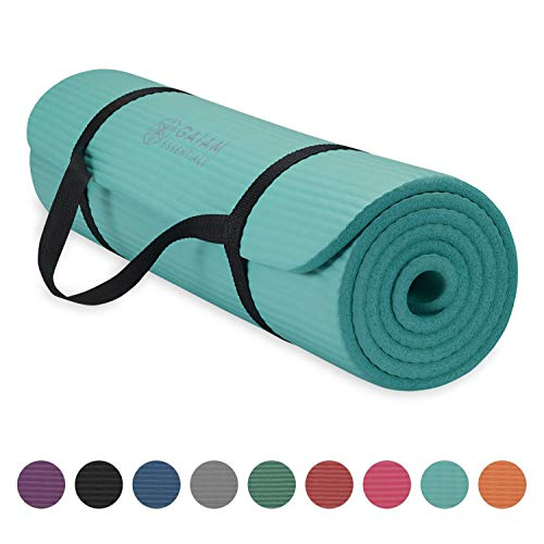 """Gaiam Essentials Thick Yoga Mat Fitness & Exercise Mat With Easy-Cinch Yoga Mat Carrier Strap, Teal, 72""""L X 24""""W X 2/5 Inch"""