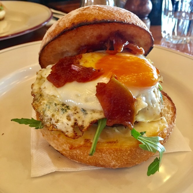 breakfast burger at Trotters Bistro Carlton