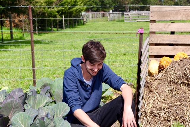 Blayne Bertoncello in garden O.My Restaurant