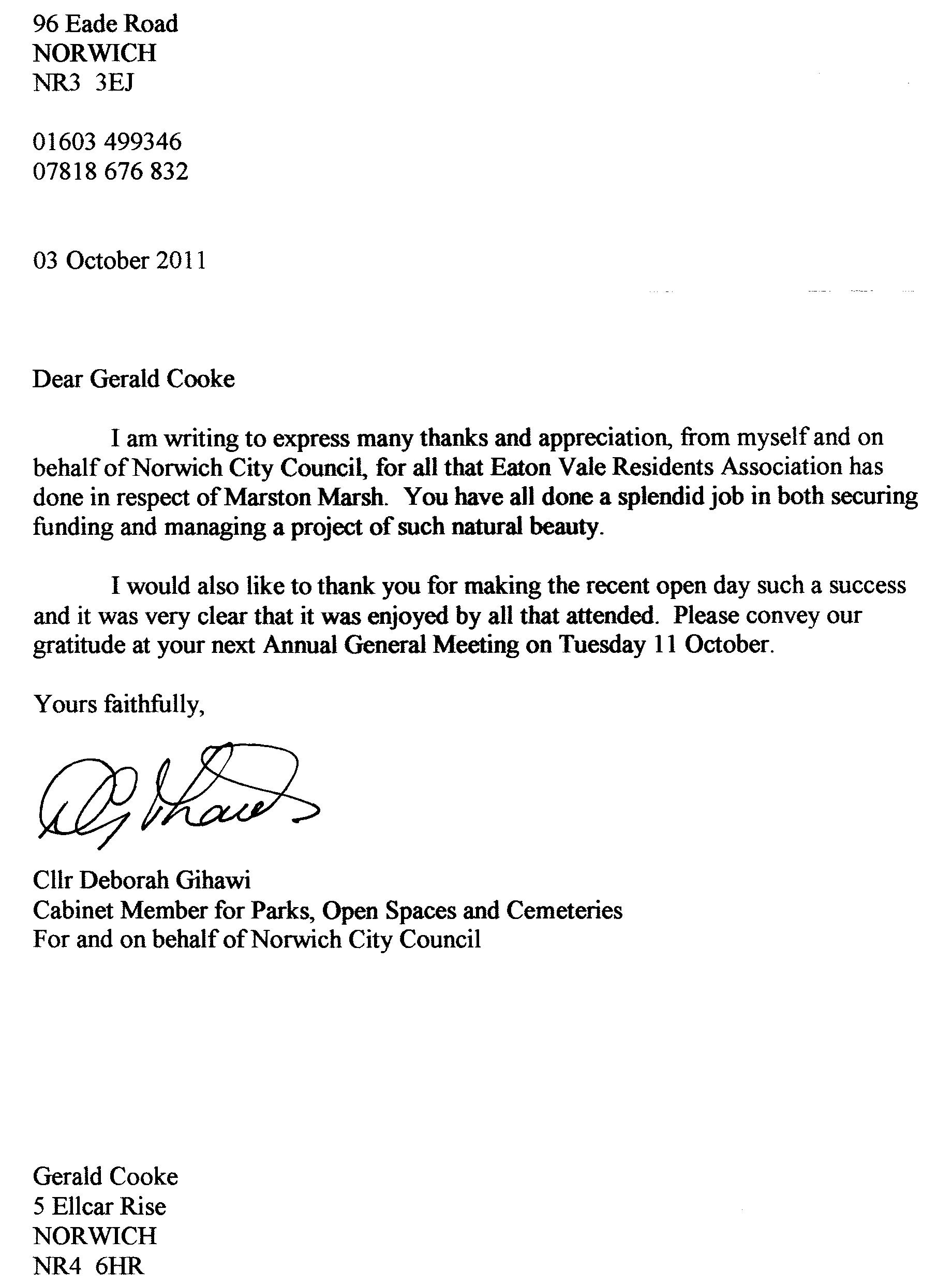 Norwich City Council thanks EVRA for all its hard work to get ...