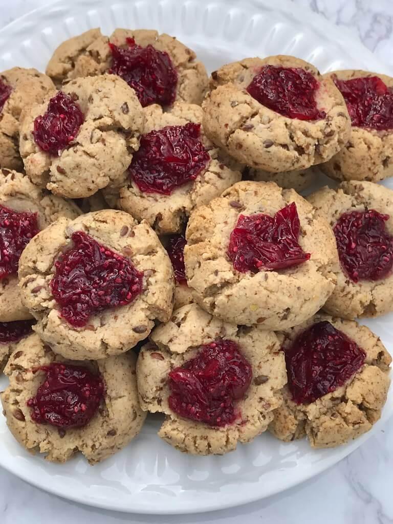 refined sugar free desserts almond thumprint cookies