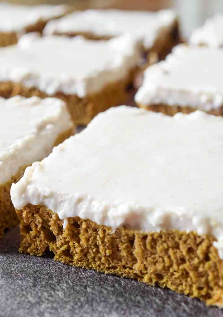 soft chocolate chip pumpkin bar with cream cheese dairy free frosting
