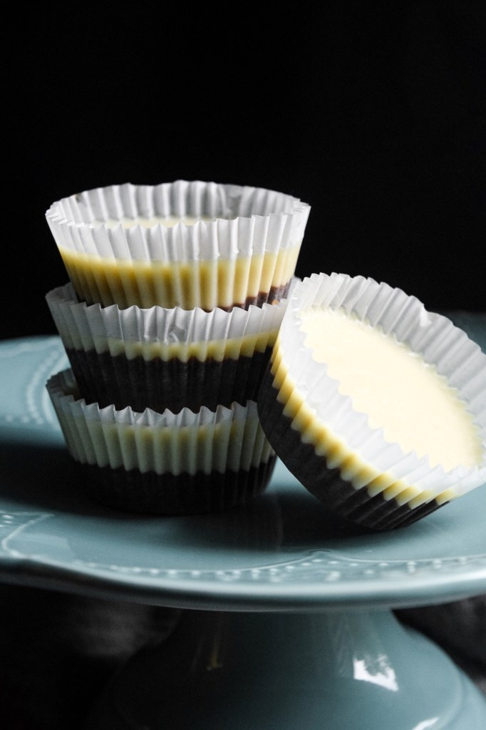 black and white almond butter cups vegan and dairy free