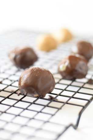 salted chocolate almond butter balls