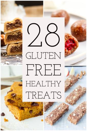 28 gluten free healthy treats text photo with 4 food pictures