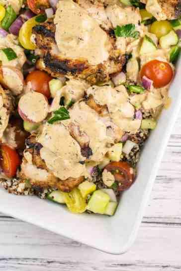 weeknight dinner grilled tahini chicken dairy free