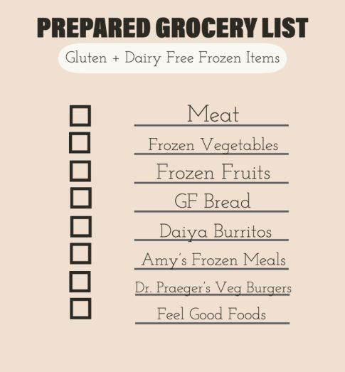 gluten and dairy free frozen items