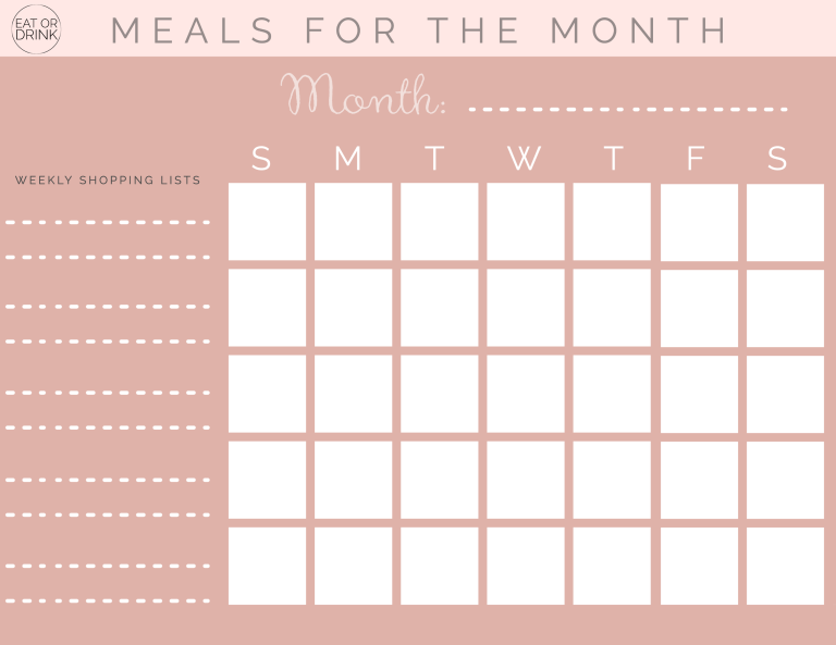 monthly meal planner printable pdf