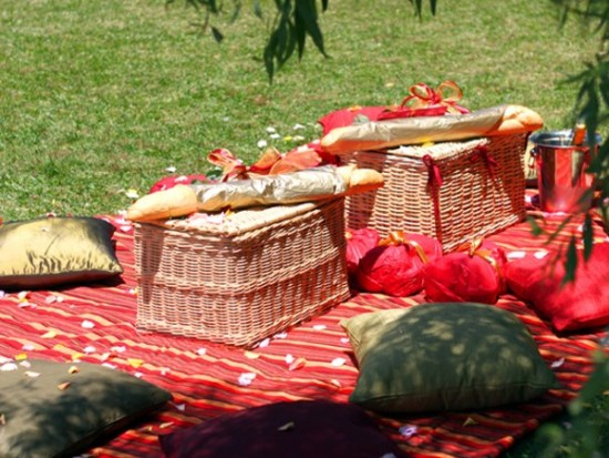 Picnic baskets at a picnic spot courtesy of Dial-a-picnic. Photo supplied.