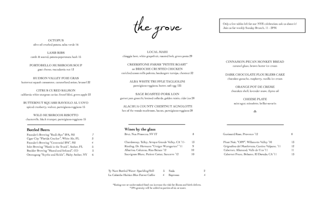 The Grove Menu