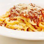 Lentil Bolognese with linguine pasta