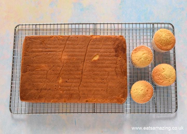 How to make a HARIBO Gummy Bear Cake - step 1 bake 4 cupcakes and 1 sheet cake