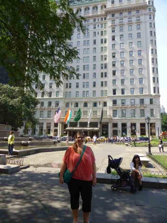 In front of the Plaza Hotel, which has one of the top rated afternoon teas in the city.