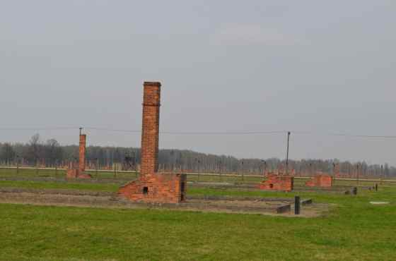 Chimneys are all that remain of the majority of the barrack- a reminder of the staggering size of this death camp