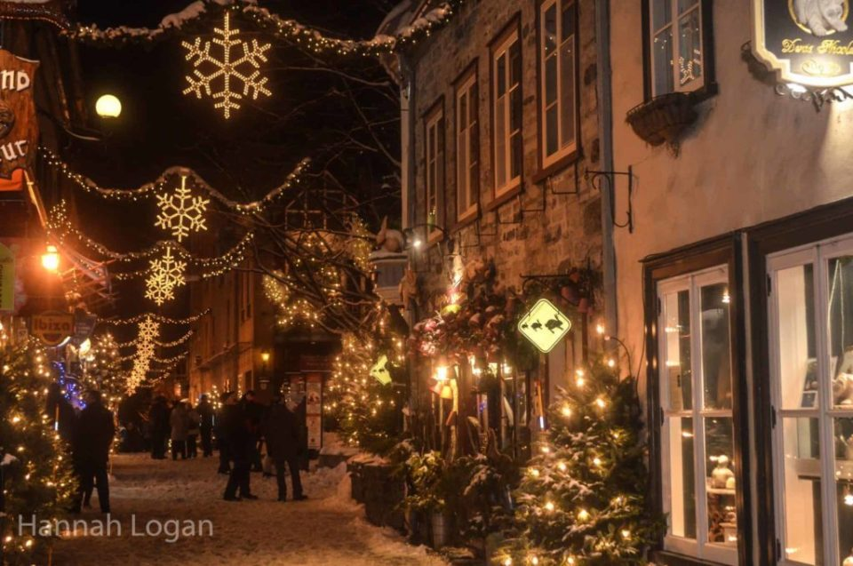 Rue du Petit Champlain in Quebec City during the winter