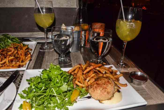 Crab cake, salad, fries, and white Sangria at SSS