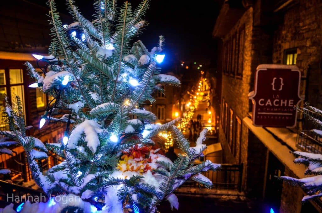 a white christmas in quebec city a photo essay eat sleep looking down on rue petit champlain