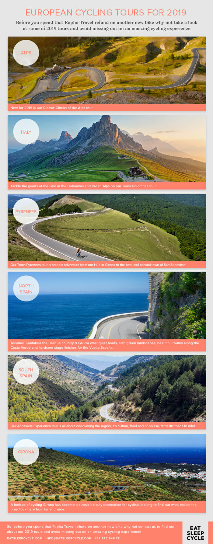 European Cycling Tours for 2019 - Eat Sleep Cycle