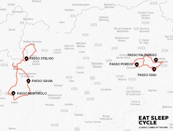 Classic Climbs of the Giro d'Italia Cycle Tour Map