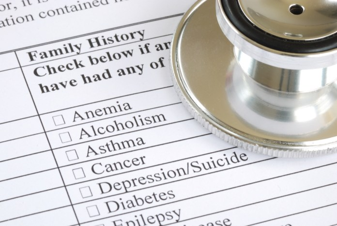 Fill out the family history section in the medical questionnaire