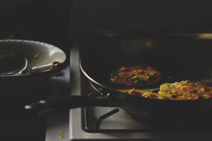 omlettes in the pan
