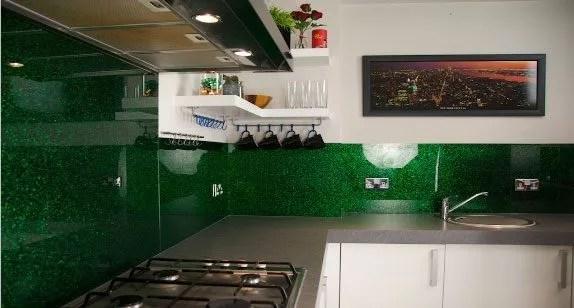 emerald green kitchen backsplash